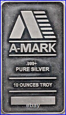 A-MARK solid Pure Silver 10oz Ten Ounce Troy 312 grams. 999 Fine Bullion Bar