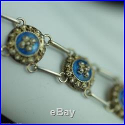 Antique 20thC solid silver Guilloche Enamel bracelet chain Porto 833