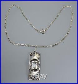 Antique ARTS & CRAFTS Solid Silver & Rock Crystal LEAF & Scrolls Pendant & Chain