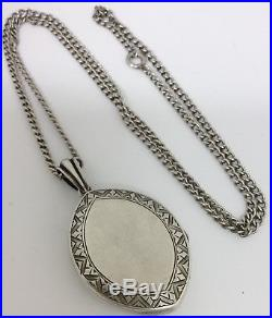 Antique Aei Love Token Solid Silver Locket And Silver 24 Inch Chain