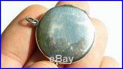 Antique Art Deco Solid Silver Guilloche Enamel Picture Locket Pendant