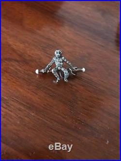 Antique Art Deco Solid Silver and rose gold Pearl & Paste monkey brooch