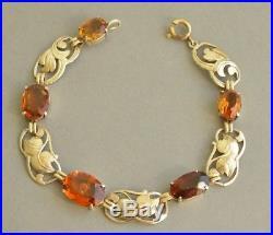 Antique Art Nouveau 830 Solid Silver Genuine CITRINE Floral Foliage Bracelet