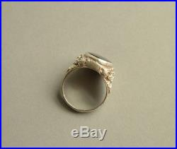 Antique Art Nouveau 835 Solid SILVER Black Onyx Signet Ring STUNNING Size T 1/2