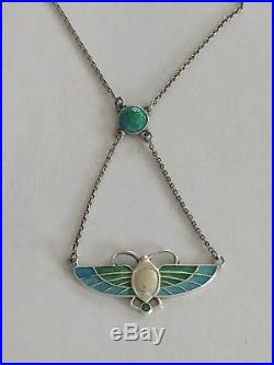 Antique Art Nouveau Charles Horner Solid Silver and Enamel Pendant Chester 1910