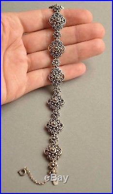 Antique Austrian 835 Solid SILVER Ornate BRACELET Signed Stunning 22 grams