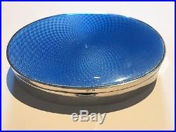 Antique Deco 1937 Solid Silver Blue Guilloche Enamel Jewellery Casket Box H/M