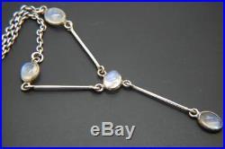 Antique Edwardian/Art Deco Solid Silver Moonstone Drop Necklace Lavaliere