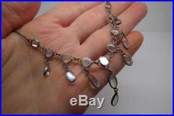 Antique Edwardian/Art Deco Solid Silver Moonstone Necklace Festoon Lavaliere