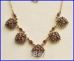Antique Edwardian Bohemian GARNET Gold Plated 900 Solid SILVER Necklace