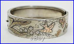 Antique FRENCH Solid Silver & Gold Overlay BIRDS, BUTTERFLY & FLOWERS BANGLE