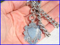 Antique Heavy Solid Silver Albert Pocket Watch Chain with Fob Medal 99g