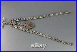 Antique Heavy Solid Sterling Silver Graduated Albert Watch Chain And Fob