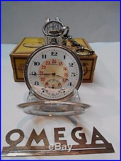 Antique Mens Pocket Watch Omega. 800 Solid Silver Open Face Box And Chain