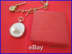 Antique Ottoman Turkish Solid Silver pocket watch Enamel Mosque Dial Work