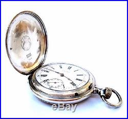 Antique Pocket Watch LONGINES Hunter Art Deco Solid Silver 1905c Working 50mm