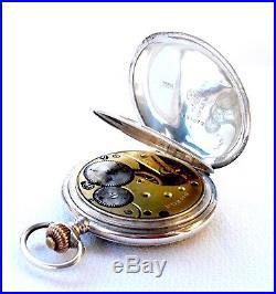 Antique Pocket Watch OMEGA Hunter Art Deco Solid Silver 1915c Working 53mm