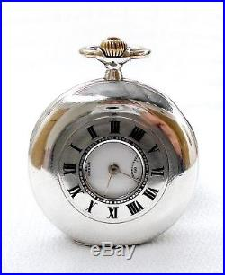 Antique Pocket Watch Swiss OMEGA Hunter 1910c Working 53mm Solid Silver