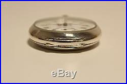 Antique Rare Men's Solid Silver 800 Open Face Pocket Watch With Beautiful Dial