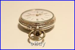 Antique Rare Men's Two Tone Solid Silver 800 Open Face Pocket Watch With Symbol