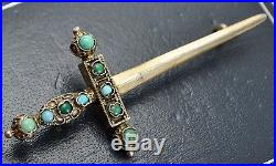 Antique SOLID SILVER GILT & Persian Turquoise SWORD BROOCH Austro Hungarian