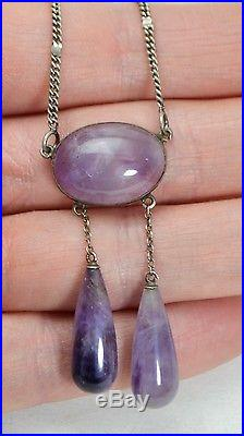 Antique SOLID SILVER & Natural CABOCHON AMETHYST Negligee Necklace with Drops