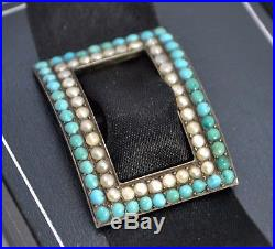 Antique SOLID SILVER, Turquoise & Seed Pearl SLIDE PENDANT Georgian/Victorian