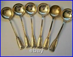 Antique Set 6 Sterling Silver Tiffany & Co 1909 St Dunstan Soup Bullion Spoons