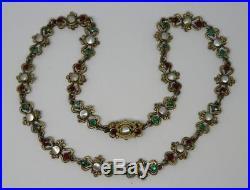 Antique Silver Austro Hungarian Solid Silver Renaissance Revival Necklace c1890