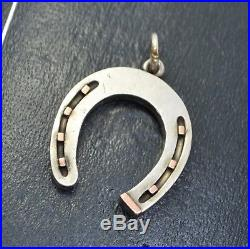 Antique Solid SILVER & ROSE GOLD Unusual HORSESHOE Lucky PENDANT Nice Size