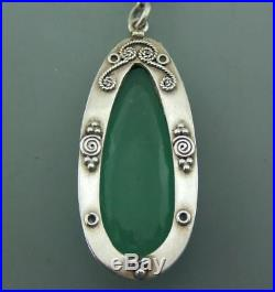 Antique Solid Silver Chalcedony Genuine Arts & Crafts Pendant With Fancy Link Ch