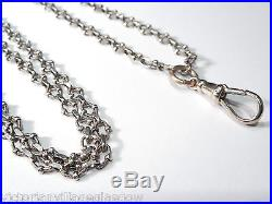 Antique Solid Silver Fancy Link Guard Necklace