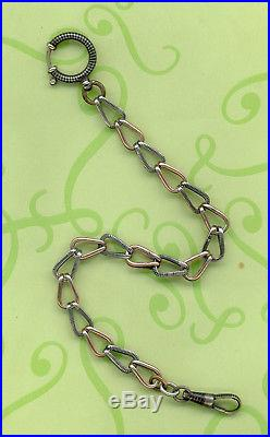 Antique Solid Silver Niello And Vermeil Gold Pocket Watch Relief Chain