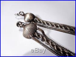 Antique Solid Silver Tassle Drop Earrings