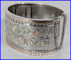 Antique Solid Silver and Gold Bracelet Floral c1890 Aesthetic Cuff Victorian