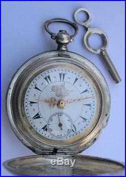 Antique Stambul/tunel Solid Silver Key Wind Pocket Watch Ottoman Empire Market