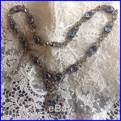 Antique Stunning FRENCH SOLID SILVER C 1800s Pale Blue & Diamond PASTE NECKLACE