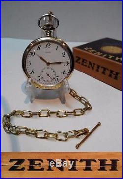 Antique Swiss Made Pocket Watch Zenith Gold Plated. 800 Solid Silver Box Chain