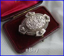 Antique VICTORIAN Solid SILVER Mourning LOCKET Brooch Prince of Wales Hair Curl