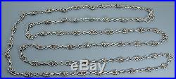 Antique Victorian 50 SOLID SILVER French Fancy Link Long Guard / Muff Chain