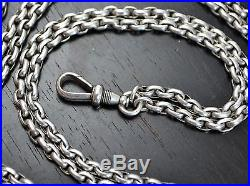 Antique Victorian 56 SOLID SILVER Heavy Long Guard / Muff Chain with Dog Clip