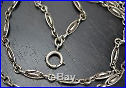 Antique Victorian 57 SOLID SILVER French Fancy Link Long Guard / Muff Chain
