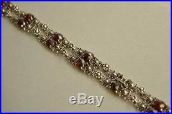 Antique Victorian 835 Solid SILVER Faceted GARNET Floral Bracelet STUNNING