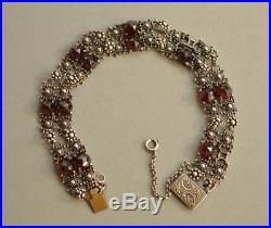 Antique Victorian 835 Solid SILVER Faceted GARNET Floral Bracelet STUNNING 21 cm
