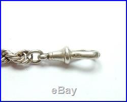 Antique Victorian B'Ham 1895 925 Sterling Silver Solid Rope Chain & T Bar 37.9g