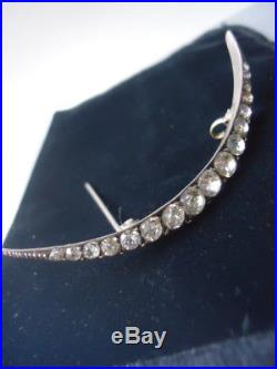 Antique Victorian / Deco Brilliant Paste Crescent Moon Solid Silver Brooch 2.6
