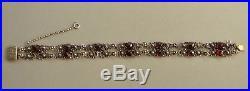 Antique Victorian German 835 Solid SILVER Faceted GARNET Floral Bracelet