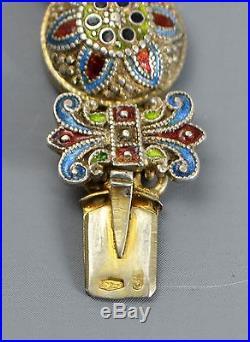 Antique Victorian SOLID SILVER Austro-Hungarian HEAVY Unusual ENAMEL Bracelet
