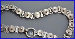 Antique Victorian SOLID SILVER Beaded Detail Unusual Collar BOOK CHAIN Necklace