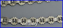 Antique Victorian SOLID SILVER Double Sided ENGRAVED Collar BOOK CHAIN Necklace